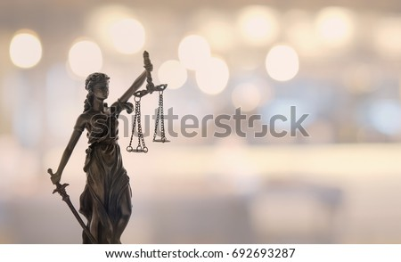 law legal concept. statue of justice or lady justice at court.