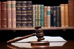 Law office concept. Justice symbols composition.