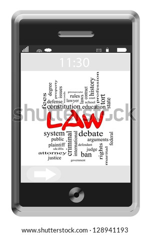 Law Word Cloud Concept of Touchscreen Phone with great terms such as attorney, judge, plaintiff and more. Foto stock ©