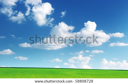 Lawn and cloudy sky. Nature composition.