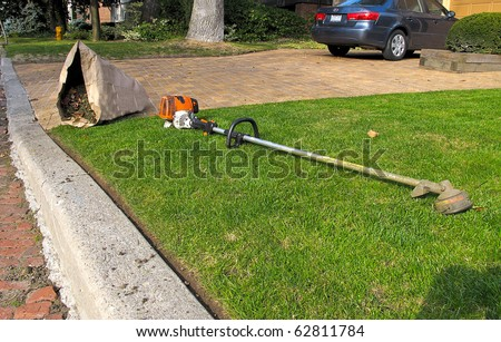Lawn care equipment and garden sac in residential neighborhood #62811784