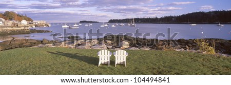 Lawn chairs at Lobster Village, Tenants Harbor, Maine