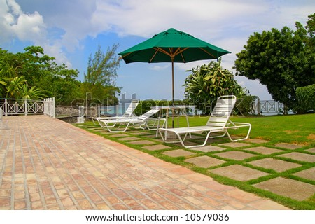 lawn-chairs by poolside