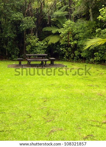 Lawn garden and bench close to the forest in New Zealand