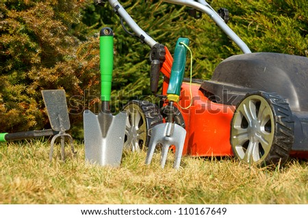 lawn mower and garden tools / gardening