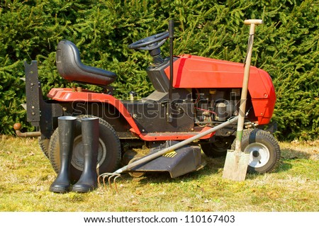 lawn mower and other garden tools / gardening