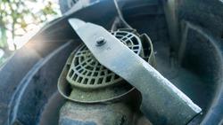 lawn mower blade close up