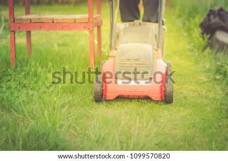 lawn mower cuts a lawn/red lawn mower cuts a lawn #1099570820