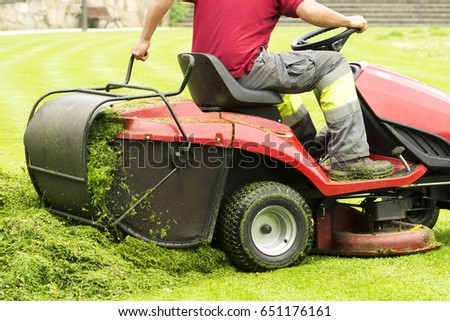 lawn mower on green lawn with professional gardener #651176161