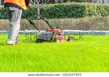 Lawn mower with worker #1265617693