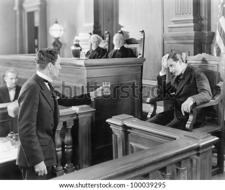 Lawyer and a witness in a courtroom