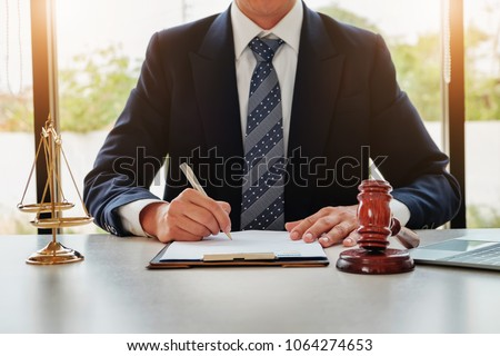 Lawyer concept, Legal professions with legal devices  gavel and lawyer brand on desk in office.