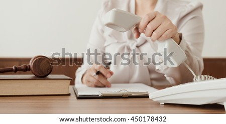 Lawyer counsel call to client to advice. Concepts of legal consultation and advisory services by the phone.