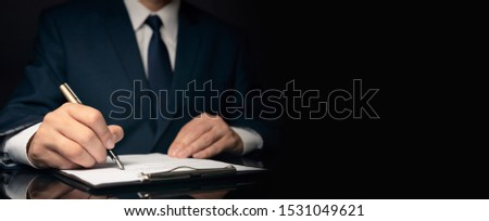 Lawyer, notary, attorney signs act, legal document. Businessman in suit copy space web banner concept.