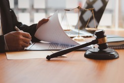 lawyer or judge work in the office with Judge gavel, Legal law, advice, and justice concept.