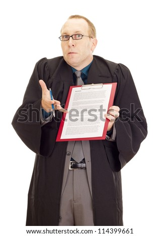 Lawyer with an agreement on his clipboard