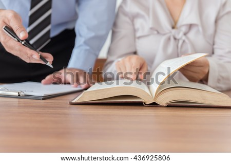 Lawyers having team meeting in law firm. Concepts of law, advice,legal services.