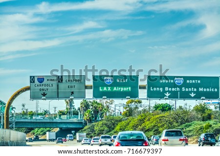 LAX exit sign on 105 freeway. Los Angeles, California stock photo