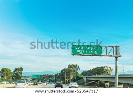 LAX exits sign in Los Angeles, California stock photo