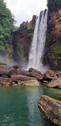 Laxapana Falls, Hatton, Sri lanka is 126 m high and the 8th highest waterfall in Sri Lanka