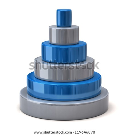 Layer blue pyramid