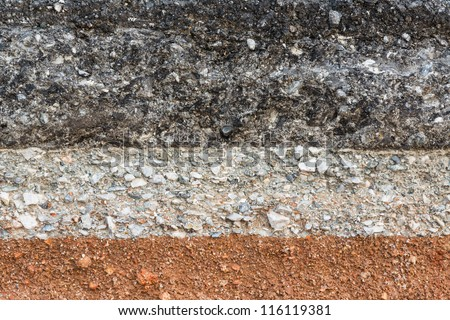 Layer of asphalt road