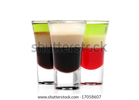 Layered Alcoholic Cocktails Isolated on White Background