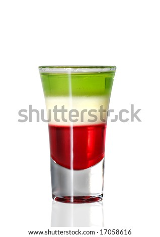 Layered Cocktail Shooter made of Absinthe, Lemon Fresh, Grenadin. Isolated on White Background