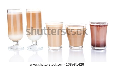 Layered coffee isolated on white - stock photo
