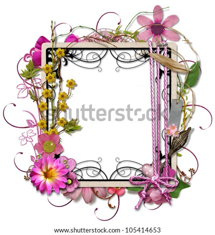 layered Frame Paper Scrapbook with Flowers and Ribbons