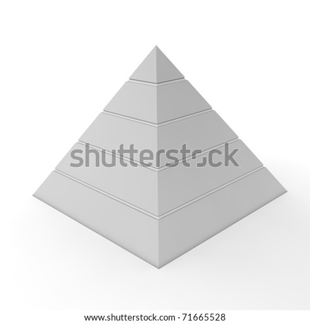layered pyramid chart template with five levels in light grey