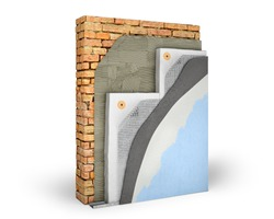 Layered scheme of exterior wall insulation with polystyrene foam, 3d illustration