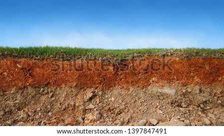 layered soil of cross section underground earth, erosion ground with grass on top                         #1397847491