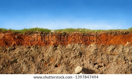 layered soil of cross section underground earth, erosion ground with grass on top                         #1397847494