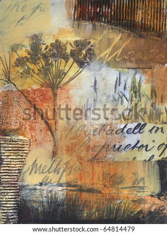 Layered transparent acrylic painting with collage photos of  reeds along a riverbank,and fennel seed head.