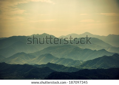 Stock Photo Layers of Chinese Mountains