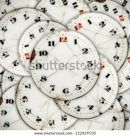 Layers of clock face for the concept of Infinite Faces of Time.