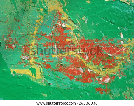 Layers of colorful flaking paint abstract background.