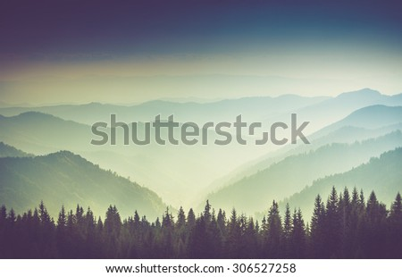 layers of mountain and haze in...