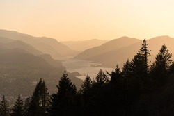 Layers of mountains and silhouetted trees in the Columbia River Gorge during golden hour sunset