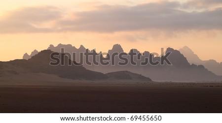 Layers of mountains at sunrise, Wadi Rum, Jordan