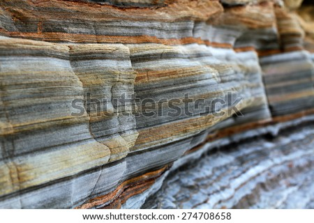 Layers of sedimentary sandstone rock.