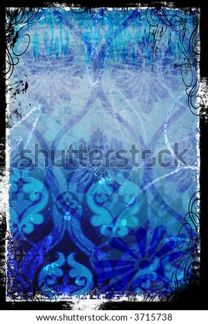 Layers of vintage blue patterns