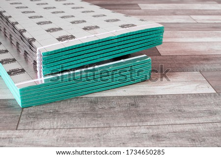 laying a floating floor, including sound insulation ストックフォト ©