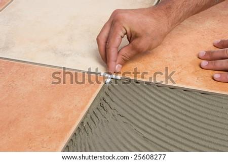 Laying floortiles