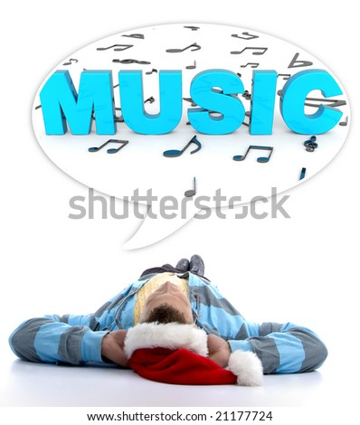 laying man with christmas hat looking at three dimensional musical notes and music text