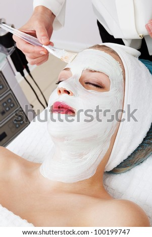 laying of cosmetic masks in modern beauty salon