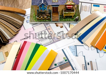 layout and house plan with color samples - Shutterstock ID 1007170444
