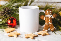 Layout for design of mug, white mug and gingerbread man