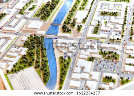 Layout of city streets, skyscrapers, buildings. Layout of the city in miniature Photo stock ©